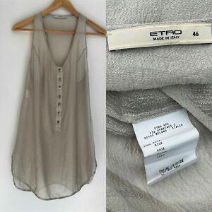 ETRO textured Silk Detailed Button Front Razor Top Tank Blouse 46 12 14 AU $350