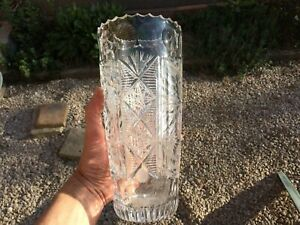 Antique Vase IN Crystal Size Beautifully Embellished Height 9 13/16in