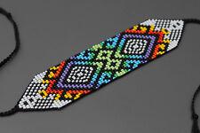 Geometric Huichol Bracelet, Tribal Geometric Bracelet, Beaded Cuff Bracelet