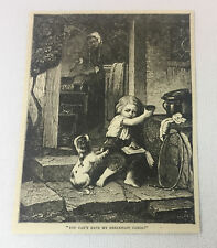 1883 magazine engraving ~ LITTLE BOY WITH DOG Can't Have My Breakfast