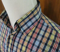 PAUL & SHARK YACHTING ITALY Mens M BLUE RED YELLOW ORANGE CHECK L/S Button Shirt