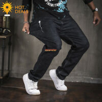 New Men`s Elastic Waist Stretch Straight Jeans Plus Size Loose Denim Pants 30-48