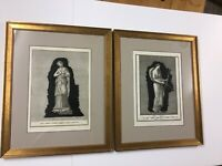 Pair Copper Plate Etchings Artifacts From Herculaneum Ca. 1758