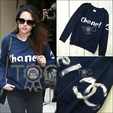 RARE Auth CHANEL VIP Hand Painted CC Logo Navy Sweatshirt Jumper Top Size S US2