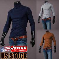 Men's Long Sleeve Pullover High Neck Turtleneck Stretch Slim Basic T Shirt Tops