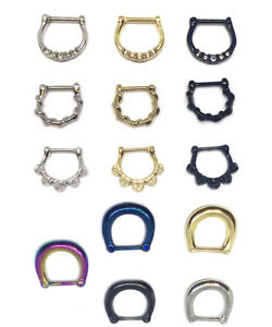 Hinged Clicker Septum Ring Hoop Tragus Nose Ear Stainless Steel Stud Helix Ring