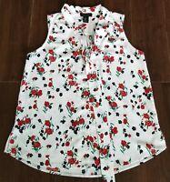 Rachel Zoe Sleeveless Floral Tie Neck Blouse size Medium M White Tank Top