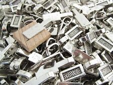"200 Large Tag Bails - Antique Silver Color - 26x8mm - Glue On Bails 1"" x 5/16"""