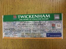20/11/2004 Rugby Union Ticket: England v South Africa [At Twickenham] (folded)