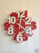 Reloj de pared de estilo 3D rojo y blanco de Cocina Reloj Pared Dormitorio de Niños Habitación 34CM*34CM