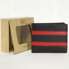 Men's Genuine Cow Leather Bifold Wallet Black 6 Card Slot Coin Pocket Gift Box