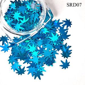 Nail Art Glitter Powder Maple Sequin Flakes Design Acrylic Decor Manicure Tips