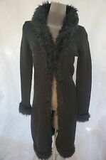 EUC Betsey Johnson long black faux fur coat cardigan Sweater Oversized Wool M