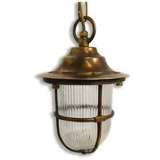Solid Antique Brass Exterior/Outdoor/Garden Pendant Lantern with 6 watt LED lamp