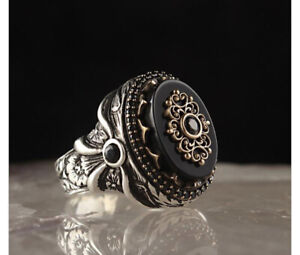 Hand Made pure 925 Silver Sterling men wedding rings with Black Onyx stone RRP50