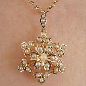 Stunning Antique Victorian 9ct Gold Pearl Floral Snowflake Pendant Brooch c1895