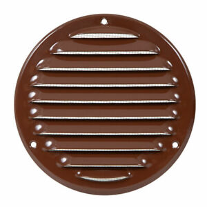 Brown Metal Round Air Vent Grille 125mm / 164mm with Fly Screen Flat Duct Cover