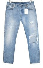 Womens Levis 501 STRAIGHT LEG Light Blue RIPPED Jeans Size 14 W32 L32
