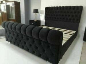 Plush Velvet Modern Sleigh Beds With/Without Storage
