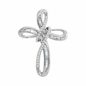 10kt White Gold Womens Round Diamond Rounded Cross Faith Pendant 1/4 Cttw