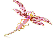 Fashion Superb Cat Rhines Gems Style Dragonfly Design Jewelry Pin Brooch Gifts