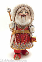 "12.5"" SANTA Hand Carved Wood Hand Painted SIGNED Father Frost Russian"