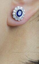 Sapphire & Diamond Cluster Vintage Stud Earrings 9 Carat White Gold  Hallmarked