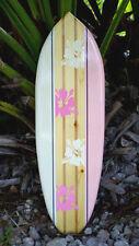 Pink Tropical Solid Wood Surfboard Original Wall Art New Beach Island Decor