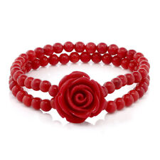 7 Inch  Red Simulated Coral Bead Rose Flower Stretch Bracelet 5mm