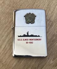 Vintage Military Zippo Lighter U.S.S. Elmer Montgomery DE-1082 USN Frigate Ship