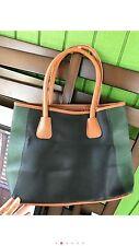 Neiman Marcus Tote Bag Shopper Green, Dark Gree & Brown Faux Leather Handbag NEW