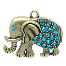 1 Large Bronze Rhinestone ELEPHANT Pendant, turquoise blue crystals chb0274