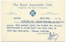 SOUTHAMPTON RAC Docks 1937 South Western Garage Dr EG Battiscombe postcard