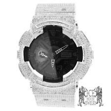 Mens New Icy Diamond Simulated G Shock GD100-1B White On White Gold Custom Watch