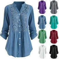 Women Lady Autumn Winter Plus Size Button Lace V Neck Long Sleeve Shirts Blouse