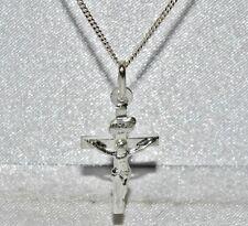 Solido Argento Sterling (925) Crocifisso Croce Pendente A Catena + 18 in (ca. 45.72 cm)