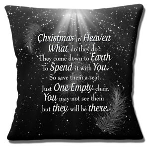 Christmas In Heaven Cushion Cover What Do They Do Black 16 inch 40 cm
