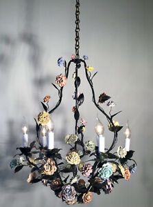 ANTIQUE LARGE 1920' FRENCH LOUIS XV GREEN TOLE CHANDELIER AND PORCELAIN FLOWERS
