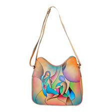 983d2e4a54129 Srijan Handbemalte Tüte Damen Echt Leder Tragetasche Handtasche Unikat  Abstract
