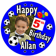PERSONALISED FOOTBALL BIRTHDAY BADGE, AGE, NAME, COLOURS & PHOTO - NEW / GIFTS