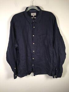 Marks & Spencer mens pure linen navy blue button up shirt size 2XL long sleeve