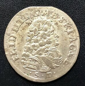 German States (Brandenburg) 1698SD 6 Groschen Silver Coin