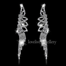 Bridal Silver Diamante Rhinestone Crystal Leaf Tassel Long Earrings Wedding Prom