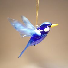 "Blown Glass Figurine ""Murano"" Art Hanging BLUE Bird Bluebird Ornament"