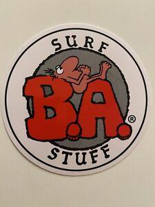 Vintage BA SURF STUFF Surfboard Sticker Decal 90's 80's RIP CURL STUBBIES QUIK
