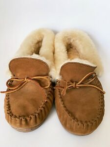 Minnetonka Moccasins Hard Soled Leather Wool Inner Liner Men's Size 11 Used