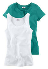 "Damen- Top + Shirt von""Flashlights"" Gr. 32/34 mint + white"