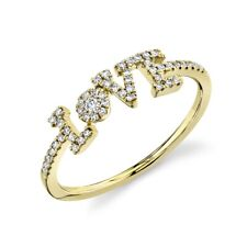 Diamond LOVE Ring 14K Yellow Gold Women's Natural Round Cocktail Statement Sz 7