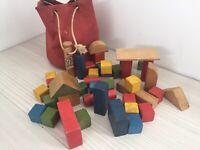 Vintage Galt Wooden Building Blocks Playset with Original Bag Kids Toys