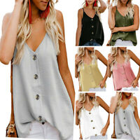 Womens V-neck Vest Sleeveless Loose Camisole T Shirt Blouse Casual Tank Tops US